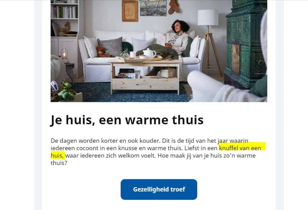 knipsel van IKEA-mailing met de woorden 'Een knuffel van een huis'